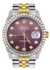 Diamond Rolex Datejust Watch | 36Mm | Purple Dial | Jubilee Band CUSTOM ROLEX FrostNYC