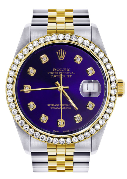 Diamond Gold Rolex Watch For Men 16233 | 36Mm | Royal Blue Dial | Jubilee Band