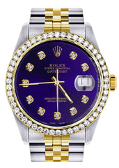 Diamond Gold Rolex Watch For Men | 36Mm | Royal Blue Dial | Jubilee Band