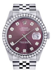 Womens Rolex Datejust Watch | 36Mm | Purple Dial | Jubilee Band women custom rolex FrostNYC