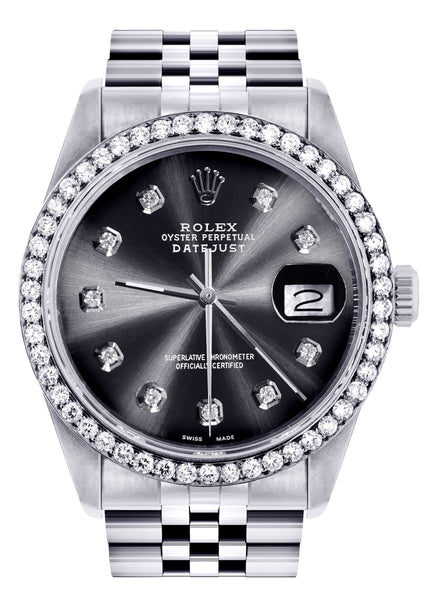 Diamond Rolex Datejust Watch | 36Mm | Graphite Diamond Dial | Jubilee Band