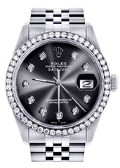 Diamond Rolex Datejust Watch | 36Mm | Graphite Diamond Dial | Jubilee Band CUSTOM ROLEX FROST NYC