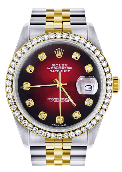 Gold Rolex Datejust Watch 16233 for Men | 36Mm | Red Dial | Jubilee Band