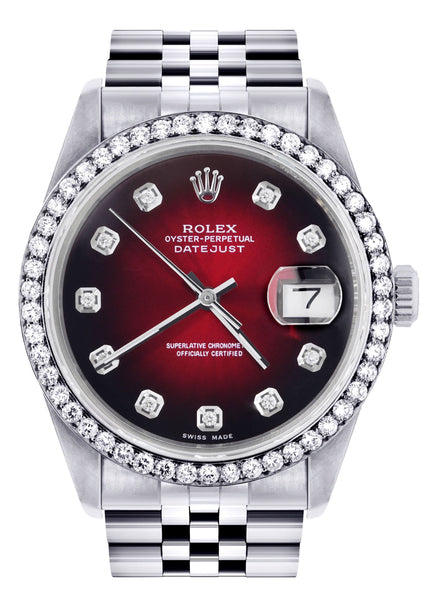 Rolex Datejust Watch | 16200  | 36MM | Red Dial | Jubilee Band | Stainless Steel