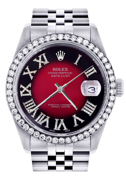 Diamond Rolex Datejust  Watch | 36Mm | Diamond Red Roman Numeral Dial | Jubilee Band