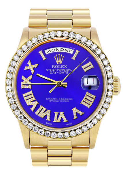 Rolex Day-Date | Presidential | 18K Yellow Gold | Diamond Bezel | Light Blue Roman Diamond Dial