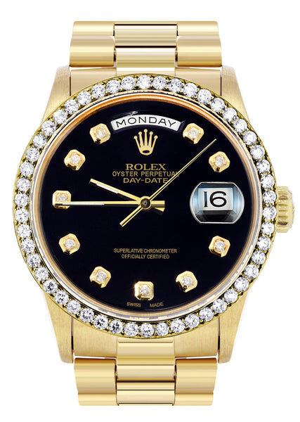 Rolex Day-Date | Presidential | 18K Yellow Gold | Diamond Bezel | Black Diamond Dial