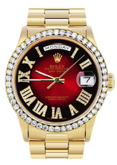Rolex Day-Date | Presidential | 18K Yellow Gold | Diamond Bezel | Red Diamond Roman Numeral CUSTOM ROLEX FROST NYC