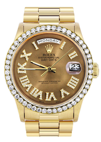 Rolex Day-Date | Presidential | 18K Yellow Gold | Diamond Bezel | Diamond Roman Chocolate Dial