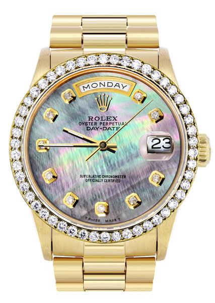 Rolex Day-Date | Presidential | 18K Yellow Gold | Diamond Bezel | Dark Mother of Pearl Diamond Dial
