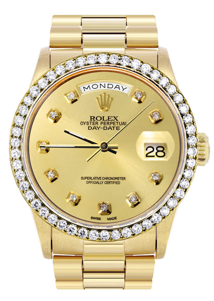 Rolex Day-Date | Presidential | 18K Yellow Gold | Diamond Bezel | Gold Diamond Dial