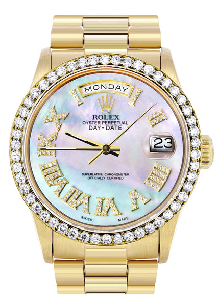 Rolex Day-Date | Presidential | 18K Yellow Gold | Diamond Bezel | Light Mother of Pearl Diamond Roman
