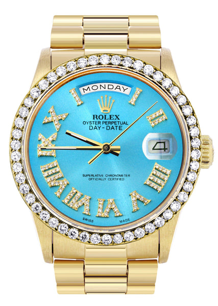 Rolex Day-Date | Presidential | 18K Yellow Gold | Diamond Bezel | Light Blue Diamond Roman DIal