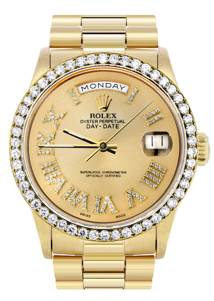 Rolex Day-Date | Presidential | 18K Yellow Gold | Diamond Bezel | Gold Diamond Roman
