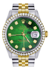 Diamond Rolex Datejust  Two Tone | 36MM | Green Diamond Mother Of Pearl Dial | Jubilee Band