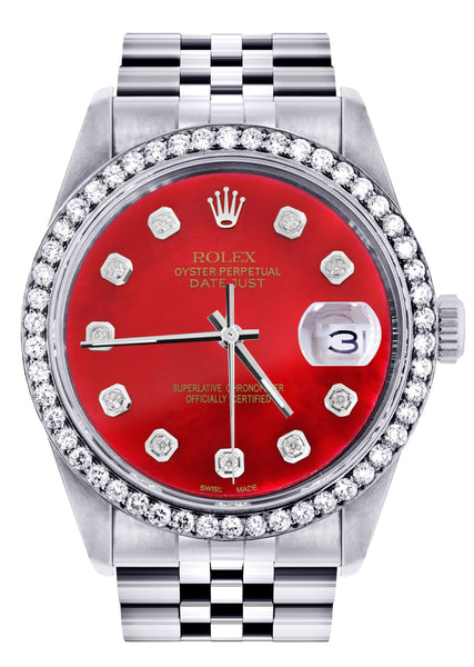 Diamond Rolex Datejust  Watch | 36Mm | Red Diamond Dial | Jubilee Band