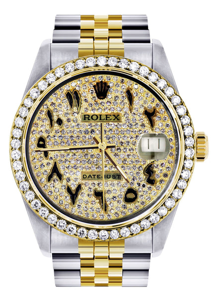 Diamond Gold Rolex Watch For Men 16233 | 36Mm | Black Arabic Full Diamond Dial | Jubilee Band
