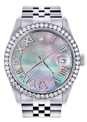 Diamond Rolex Datejust  Watch | 36Mm | Dark Mother Of Pearl Dial | Roman Numeral | Jubilee Band