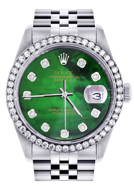 Diamond Mens Rolex Datejust Watch 16200 | 36Mm | Green Diamond Mother Of Pearl Dial | Jubilee Band