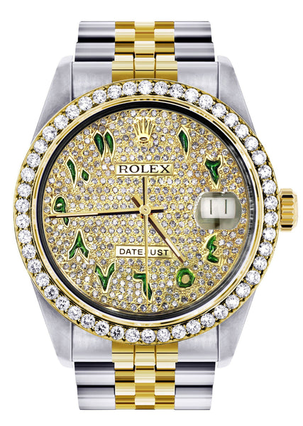 Diamond Gold Rolex Watch For Men 16233 | 36Mm | Custom Green Arabic Full Diamond Dial | Jubilee Band