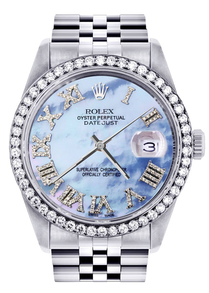 Diamond Rolex Datejust  Watch | 36Mm | Blue Mother Of Pearl Roman Numeral Dial | Jubilee Band