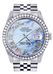 Diamond Rolex Datejust Watch | 36Mm | Blue Mother Of Pearl Roman Numeral Dial | Jubilee Band CUSTOM ROLEX FROST NYC