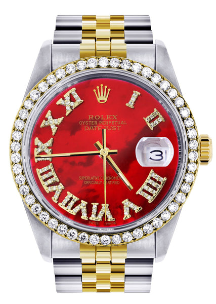 Gold & Steel Rolex Datejust  Watch | 36Mm | Diamond Red Roman Dial | Jubilee Band