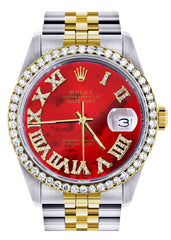 Gold & Steel Rolex Datejust Watch | 36Mm | Diamond Red Roman Dial | Jubilee Band CUSTOM ROLEX FROST NYC
