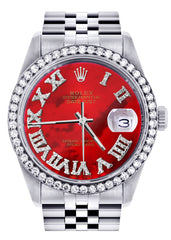 Diamond Rolex Datejust  Watch | 36Mm | Diamond Red Mother Of Pearl Roman Numeral Dial | Jubilee Band