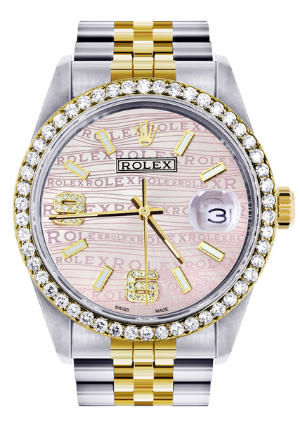 Gold & Steel Rolex Datejust  Watch | 36Mm | Custom Diamond Pink Dial | Jubilee Band