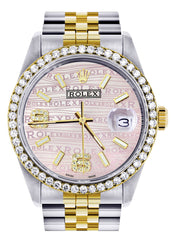 Gold & Steel Rolex Datejust Watch | 36Mm | Custom Diamond Pink Dial | Jubilee Band CUSTOM ROLEX FROST NYC