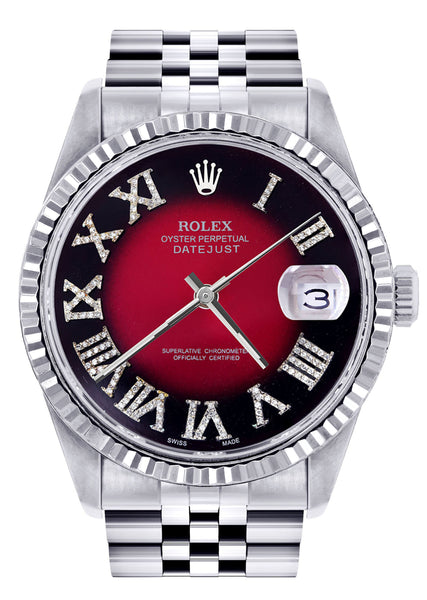 Mens Rolex Datejust Watch 16200  | 36Mm | Red Black Roman Numeral Dial | Jubilee Band