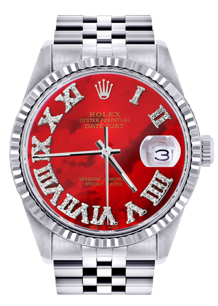 Mens Rolex Datejust Watch 16200  | 36Mm | Red Mother of Pearl Roman Numeral Dial | Jubilee Band