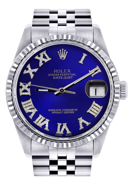 Mens Rolex Datejust Watch 16200  | 36Mm | Blue Roman Numeral Dial | Jubilee Band
