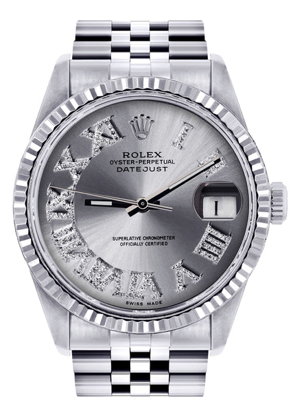 Mens Rolex Datejust Watch 16200  | 36Mm | Silver Roman Numeral Dial | Jubilee Band