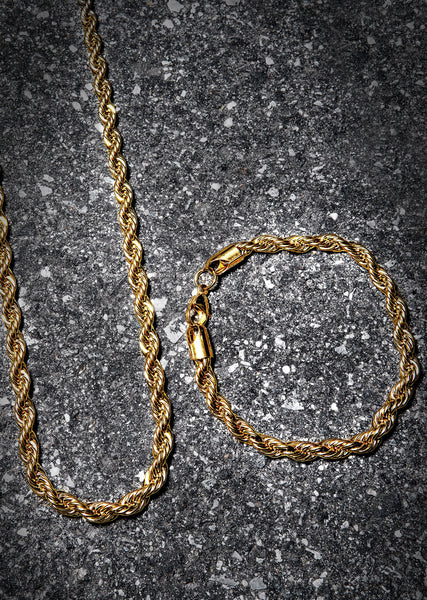 Solid Gold Plated Rope Chain & Bracelet ( 6 Mm )