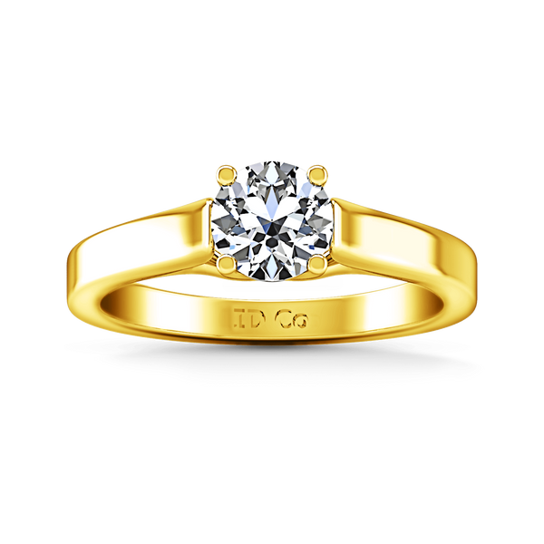Solitaire Diamond Engagement Ring Lyric Modern Lattice 14K Yellow Gold