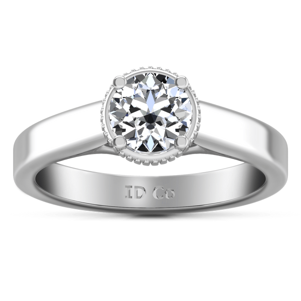 Round Diamond Solitaire Engagement Ring Carina  14K White Gold