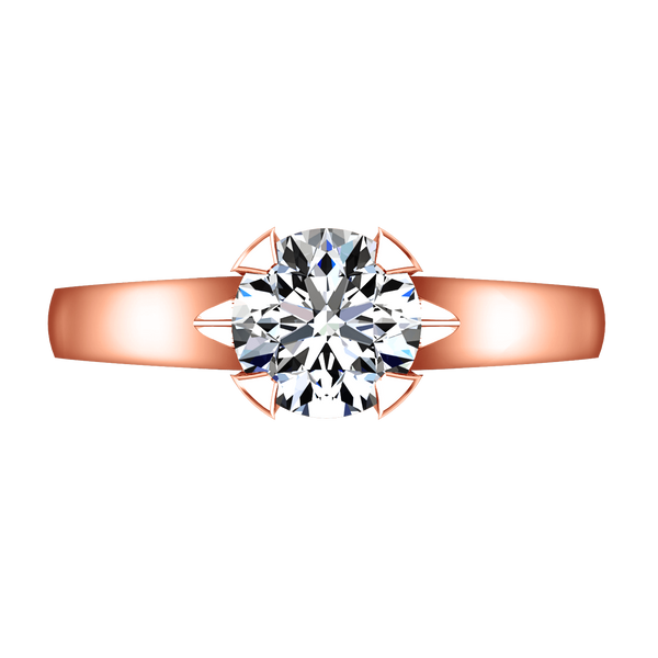 Solitaire Diamond Engagement Ring Luna 14K Rose Gold