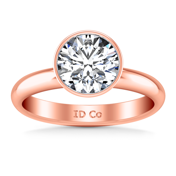 Solitaire Diamond Engagement Ring Contempo 14K Rose Gold