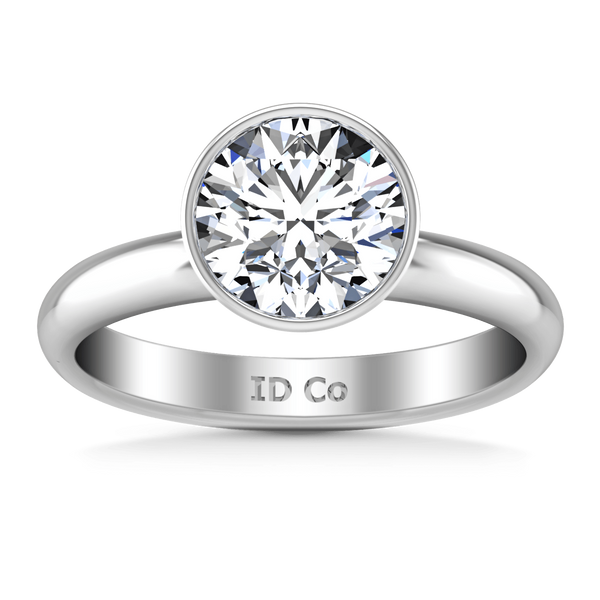 Round Diamond Solitaire Engagement Ring Contempo 14K White Gold