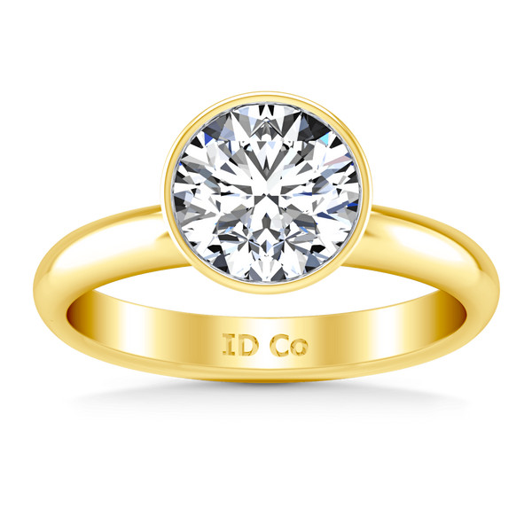 Solitaire Diamond Engagement Ring Contempo 14K Yellow Gold