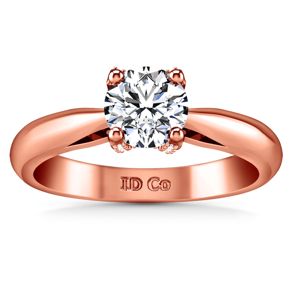 Solitaire Diamond Engagement Ring Caressa 14K Rose Gold