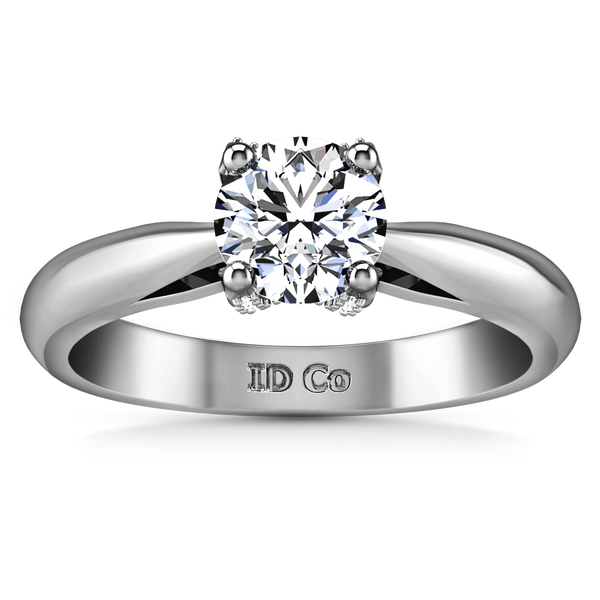 Round Diamond Solitaire Engagement Ring Caressa 14K White Gold