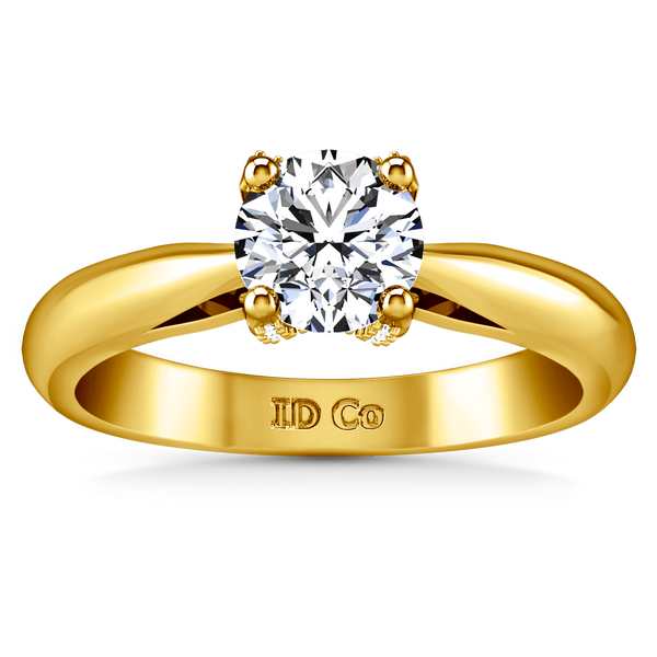 Solitaire Diamond Engagement Ring Caressa 14K Yellow Gold