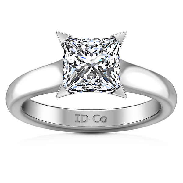 Solitaire Princess Cut Diamond Engagement Ring Jenny 14K White Gold