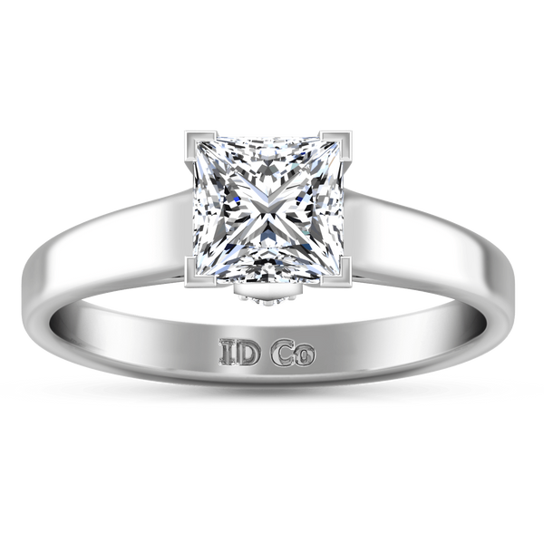 Solitaire Princess Cut Diamond Engagement Ring Holly 14K White Gold