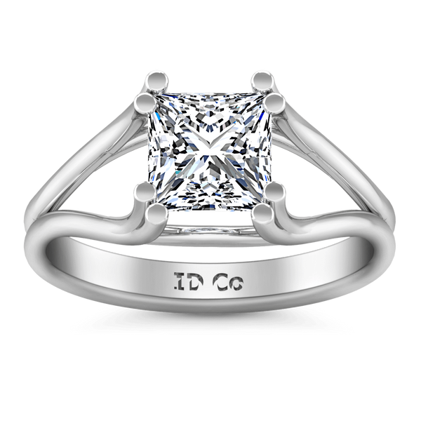 Solitaire Princess Cut Diamond Engagement Ring Bella 14K White Gold