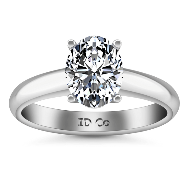 Oval Diamond Solitaire Engagement Ring Daniela 14K White Gold