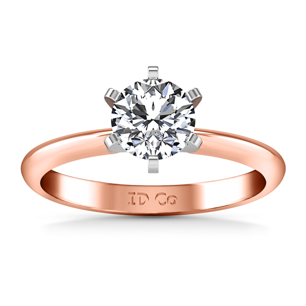 Solitaire Diamond Engagement Ring Classic 6 Prong 14K Rose Gold